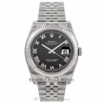 Rolex Datejust 36MM Black Roman Dial Jubilee Bracelet 116234 - Beverly Hills Watch Company Watch Store