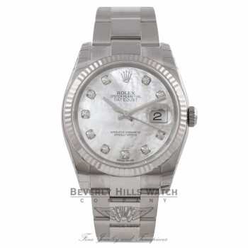 Rolex Datejust 36mm Stainless Steel White Gold Fluted Bezel White Mother Pearl Diamond Dial 116234 24D24N - Beverly Hills Watch Company Watch Store