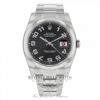 Rolex Datejust 36 Black Concentric Circle Dial Stainless Steel Oyster Bracelet 116200 Y55REV - Beverly Hills Watch