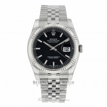 Rolex Datejust 36mm White Gold Fluted Bezel Black Dial Jubilee Bracelet 116234 94QL5W - Beverly Hills Watch Company