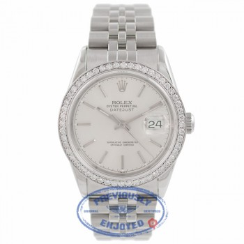 Rolex Datejust 36MM Stainless Steel Custom Diamond Set 18k White Gold Bezel Silver Dial 116244 VLEERR - Beverly Hills Watch Company Watch Store
