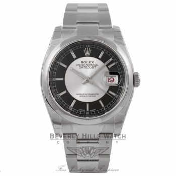 Rolex Datejust 36MM Stainless Steel Domed Bezel Silver and Black Bulls-eye Dial 116200 E90P98 - Beverly Hills Watch Company Watch Store
