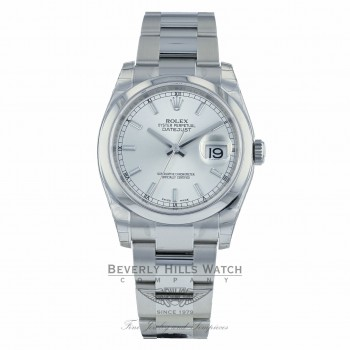 Rolex Datejust 36MM Stainless Steel Domed Bezel Silver Index Dial 116200 446QJX - Beverly Hills Watch Company Watch Store