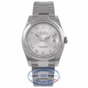 Rolex Datejust Stainless Steel 36mm Oyster Bracelet Domed Bezel Rhodium Roman Dial Watch 116200 WR7KP6  - Beverly Hills Watch Company Watch Store