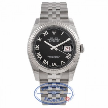 Rolex Datejust 36MM Black Roman Dial Jubilee Bracelet 18k White Gold Fluted Bezel 116234 C84YNP - Beverly Hills Watch Company Watch Store