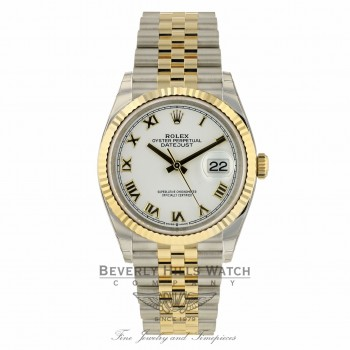 Rolex Datejust 36mm Stainless Steel and Yellow Gold Jubilee Bracelet White Dial Gold Roman 126233 048NJD - Beverly Hills Watch Company