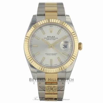 Rolex Datejust 41mm Silver Dial Steel 18k Yellow Gold Oyster 126333 3HZZEF - Beverly Hills Watch Company