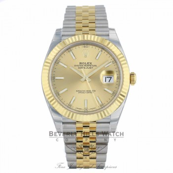 Rolex Datejust 41mm Champagne Dial Steel 18K Yellow Gold Jubilee 126333 8J0MYC - Beverly Hills Watch Company