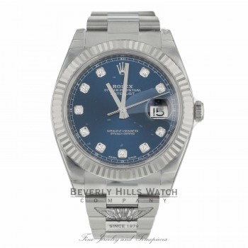 Rolex Datejust 41mm 18k White Gold Blue Diamond Dial Stainless Steel Oyster Bracelet 126334 DQVD87 - Beverly Hills Watch