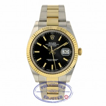 Rolex Datejust 41mm Stainless Steel 18k Yellow Gold Black Dial 126333 CMWC6N - Beverly Hills Watch