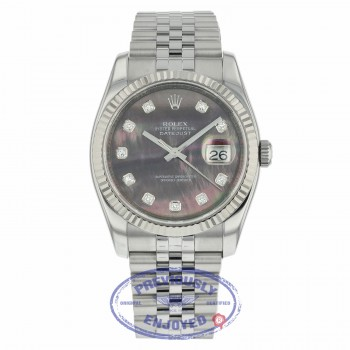 Rolex Datejust 36mm Stainless Steel White Gold Fluted Bezel Dark Mother of Pearl Diamond Dial 116234 JUDMH5 - Beverly Hills Watch