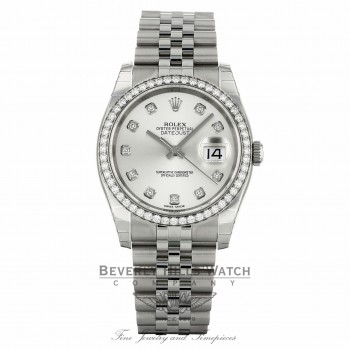 Rolex Datejust 36mm Stainless Steel Silver Diamond Dial Diamond Bezel 116244 P2WT5N - Beverly Hills Watch Company