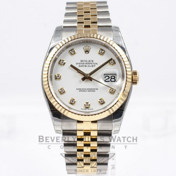 Rolex Datejust 36mm Stainless Steel and Yellow Gold jubilee Bracelet Fluted Bezel White Diamond Dial Watch 116233 Beverly Hills Watch Company Watch Store