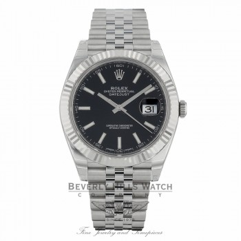 Rolex Datejust II 41mm 18k White Gold Fluted Bezel Stainless Steel Jubilee Bracelet 126334 K53Y8N - Beverly Hills Watch