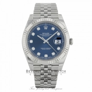 Rolex Datejust 41mm 18k White Gold Blue Diamond Dial Stainless Steel Jubilee Bracelet 126334 3A0JR5 - Beverly Hills Watch