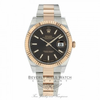 Rolex Datejust 41mm Chocolate Dial Steel 18K Everose Gold Stainless Steel Oyster Bracelet 126331 RWTE89 - Beverly Hills Watch Company