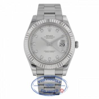 Rolex Datejust II 41MM 18k White Gold Fluted Bezel Silver Diamond Dial 116334 - Beverly Hills Watch