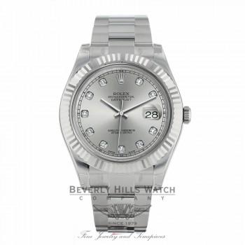 Rolex Datejust II 41MM 18k White Gold Fluted Bezel Slate Diamond Dial 116334 PUFZ5M - Beverly Hills Watch Company Watch Store
