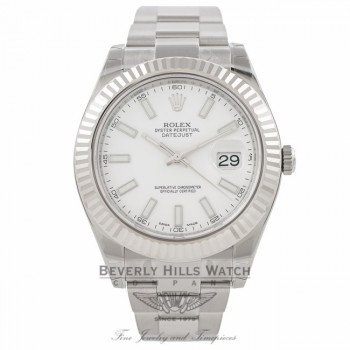 Rolex Datejust II 41MM White Gold Fluted Bezel White Dial 116334 PFW7EW - Beverly Hills Watch Company Watch Store