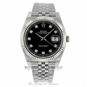 Rolex Datejust 41mm Stainless Steel 18k White Gold Fluted Bezel 126334 9U3ECE - Beverly Hills Watch