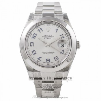 Rolex DateJust II Stainless Steel 41MM Rhodium Dial Blue Numerals 116300 3IQBZM - Beverly Hills Watch Store