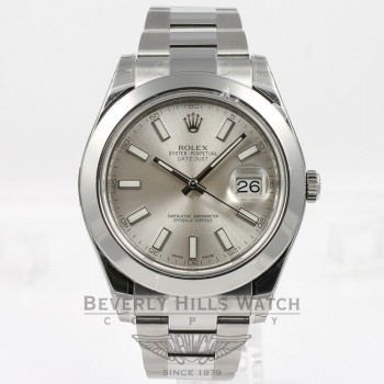 Rolex Datejust II 41mm Stainless Steel Oyster Bracelet Smooth Bezel Silver Stick Dial Watch 16300 Beverly Hills Watch Company Watches