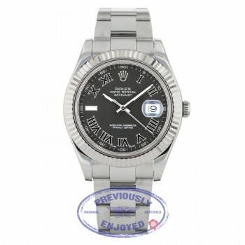 Rolex Datejust II 41mm Stainless Steel Oyster Bracelet White Gold Fluted Bezel Dark Grey Roman Dial 116334 NKPMQ9 - Beverly Hills Watch Company