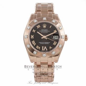 Rolex Masterpiece Datejust Special Edition 34MM 18k Rose Gold Diamond Bezel Chocolate Diamond Roman IV Dial 81315 IRRPUA - Beverly Hills Watch Company Watch Store