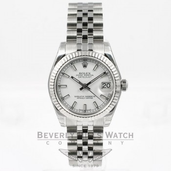 Rolex Datejust 31mm Stainless Steel Jubilee Bracelet Fluted Bezel White Stick Dial Watch 178274 If you are looking for a Luxury Watch Store in Beverly Hills, come and see us at Beverly Hills Watch Company