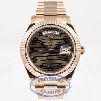 Rolex President Day Date II Everose Gold President Bracelet Fluted Bezel Bronze Wave Arabic Dial 41mm Watch 218235 Beverly Hills Watch Company Watch Store