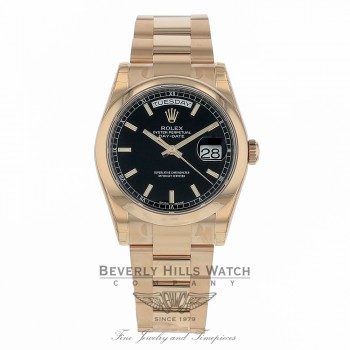 Rolex Day-Date 36mm 18k Rose Gold Black Dial 118205 1A5H7R - Beverly Hills Watch