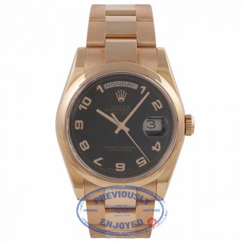 Rolex Day-Date President 36MM 18k Rose Gold Domed Bezel Black Dial 118205 8W702E - Beverly Hills Watch Company Watch Store