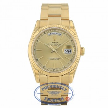 Rolex Day-Date President 18K Yellow Gold Fluted Bezel Champagne Dial Oyster Bracelet 118238 NKKW4X - Beverly Hills Watch Company