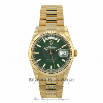 Rolex Day-Date President 36mm Yellow Gold Fluted Bezel Green Dial 118238 F640X3