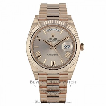 Rolex Day-Date 40mm Sundust Dial 18K Rose Gold President 228235 J5U3NT - Beverly Hills Watch Company