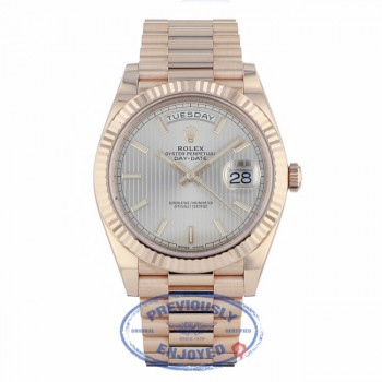 Rolex Day-Date 40mm President Everose Sundust Stripe Dial 228235 - Beverly Hills Watch