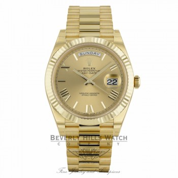 Rolex Day-Date 40mm Champagne Dial 18K Yellow Gold President 228238 HVHMP5 - Beverly Hills Watch Company