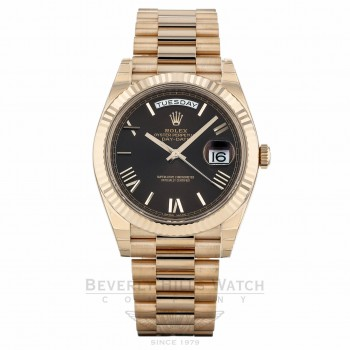 Rolex Day-Date 40mm Choco Dial 18K Rose Gold President 228235 AF4RYL - Beverly Hills Watch Company