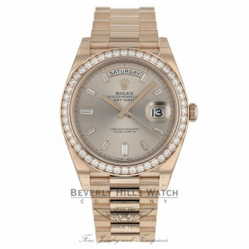 Rolex Day-Date 40mm Everose Gold President Sundust Diamond Baguette Dial 228345 J1N9DM - Beverly Hills Watch