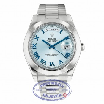Rolex Day-Date II President 41MM Platinum Ice Blue Roman Dial 218206 86XU97 - Beverly Hills Watch Company