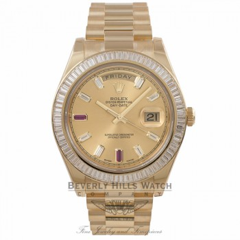 Rolex Day-Date II President 41MM Yellow Gold Diamond Bezel Champagne Dial 218398 E29YVA - Beverly hills Watch Store