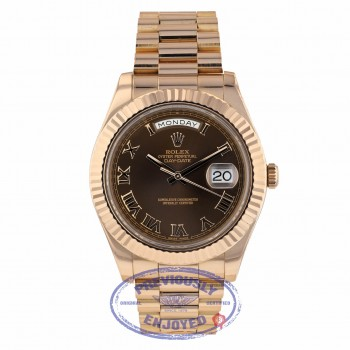 Rolex Day Date II President 41mm Rose Gold Chocolate Roman Dial 218235 8WF562 - Beverly Hills Watch Company