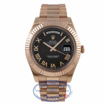 Rolex Day Date II 41MM Rose Gold President Bracelet Fluted Bezel Black Roman Dial 218235 4J9HPR - Beverly Hills Watch Company Watch Store