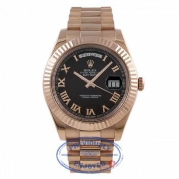 Rolex Day Date II 41MM Rose Gold President Bracelet Fluted Bezel Black Roman Dial 218235 4J9HPR - Beverly Hills Watch Company Watch Store