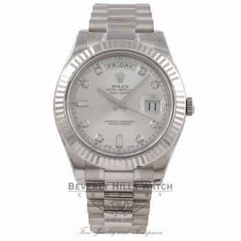 Rolex Day-Date II 18K White Gold Silver Diamond Dial Fluted Bezel President 218239 A5CMPZ- Beverly Hills Watch Company Watch Store