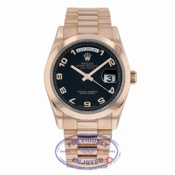 Rolex Day Date 36mm President Bracelet 18K Rose Gold Bracelet Black Arabic Numeral Dial 118205 3D5A46 - Beverly Hills Watch Company