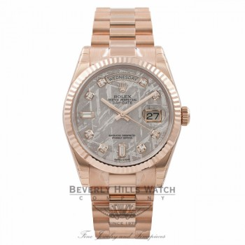 Rolex Meteorite Day-Date 36MM 18K Everose Gold Fluted Bezel Diamond Dial 118235 - Beverly Hills Watch Store