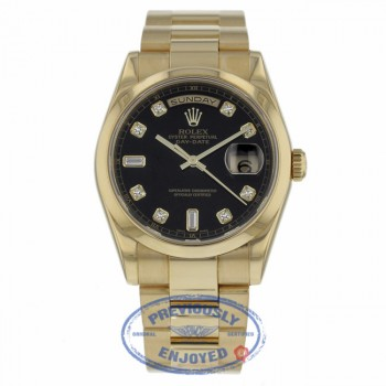 Rolex Day Date Black Diamond Dial Oyster Bracelet 18k Yellow Gold 118208 58896Y - Beverly Hills Watch Company