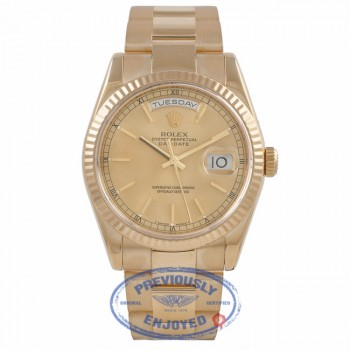Rolex Day-Date President 18K Yellow Gold Fluted Bezel Champagne Dial Oyster Bracelet 118238 RH8F23 - Beverly Hills Watch Company Watch Store