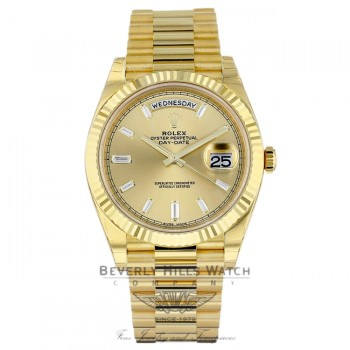 Rolex Day-Date President 40MM Yellow Gold Fluted Bezel Champagne Dial Diamond Markings 228238 8JJZYY - Beverly Hills Watch Company Watch Store